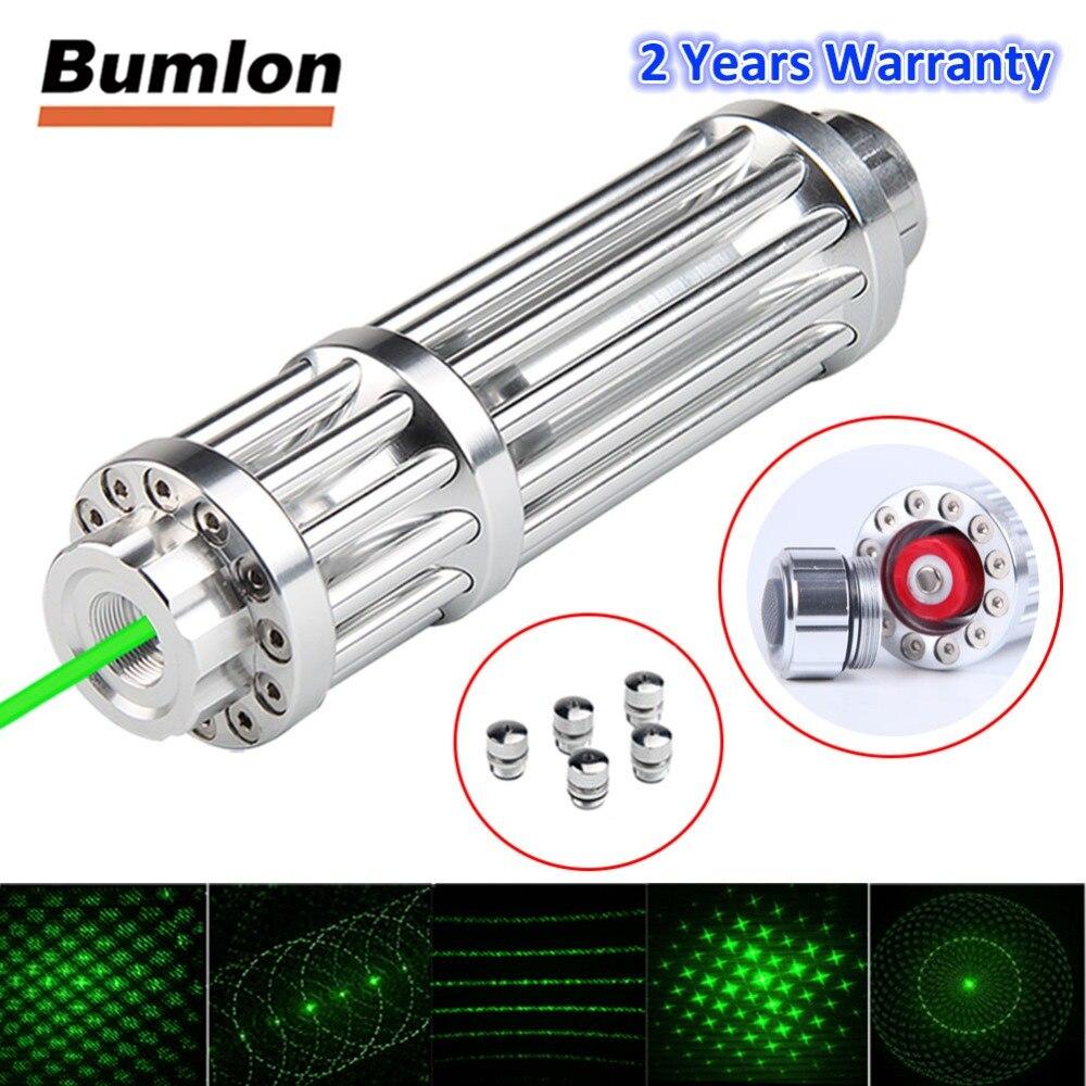 Bumlon Laser Vert 50-80nm Pointeur Mobile Stylo Laser Batterie Rechargeable Lumière de Mise Au Point Réglable Avec 5 étoiles HT3-0031