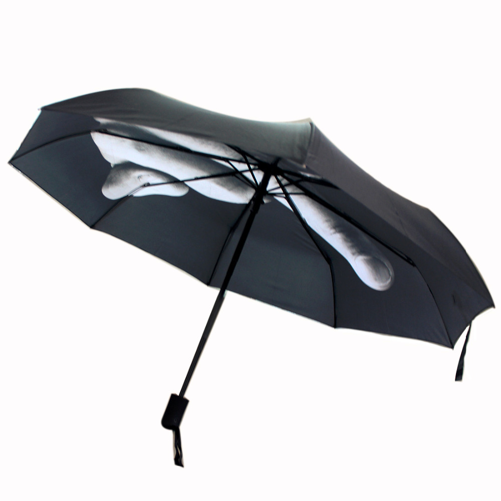 2016 New Novelty Middle <font><b>Finger</b></font> Design Black Umbrella Cool Fashion Impact Umbrella 3 Fold
