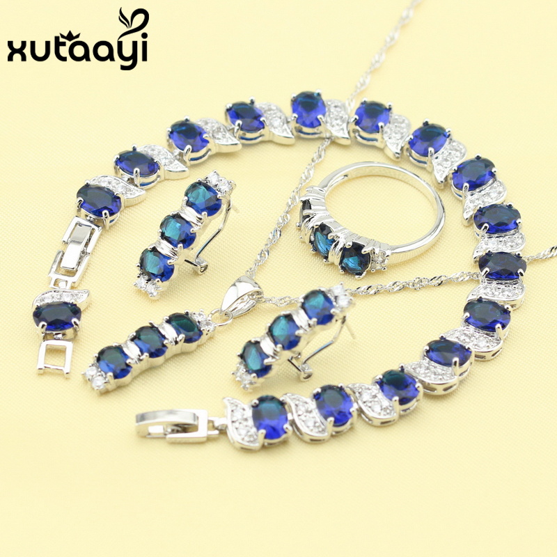 Earrings Bracelet Jewelry-Sets Free-Gift Silver-Color Cubic-Zirconia Fashion Blue New