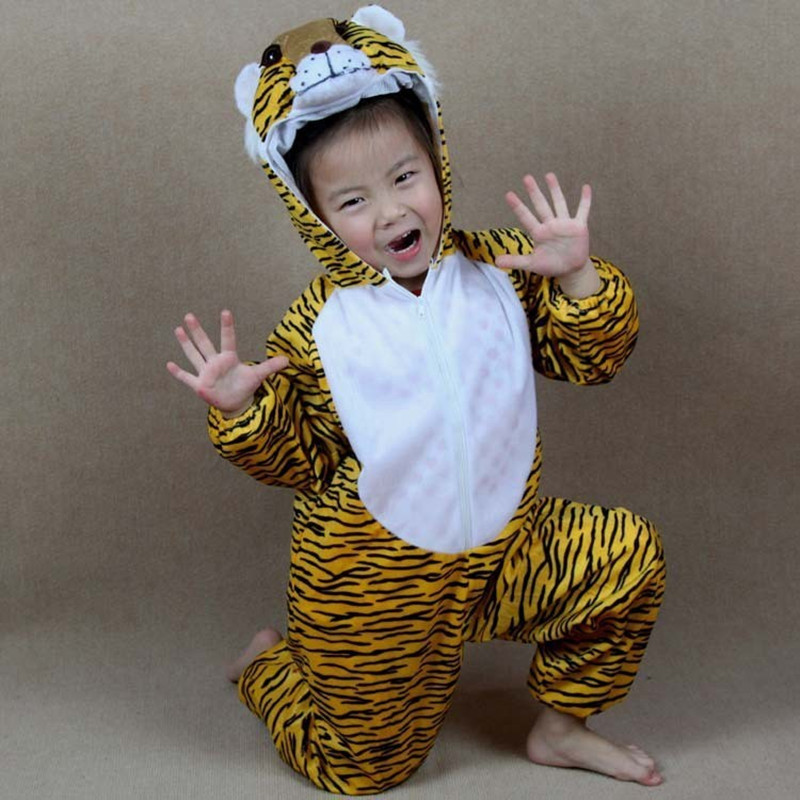 Kids Boys Girls School Party Dress Cartoon Animal Tiger Jumpsuit Children Halloween Animals Cosplay Costumes Clothing