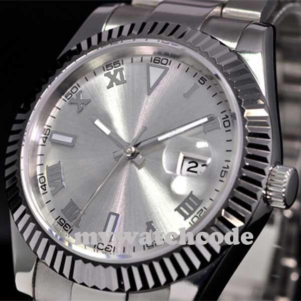 40mm parnis quadrante bianco vetro zaffiro automatico ss mens orologio da polso P188