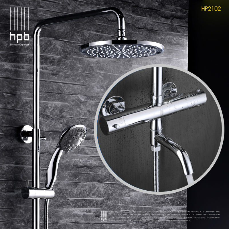 HPB Brass Thermostatic Bathroom Hot And Cold Water Mixer Bath Shower Set Faucet torneira banheiro Shower Head HP2102