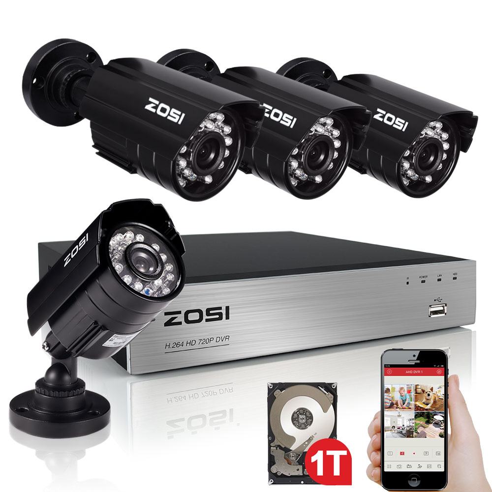 ZOSI 4CH Security Camera System HD-AHD 720P Video DVR recorder with 4x HD 1280TVL 720P Indoor Outdoor Weatherproof CCTV Cameras