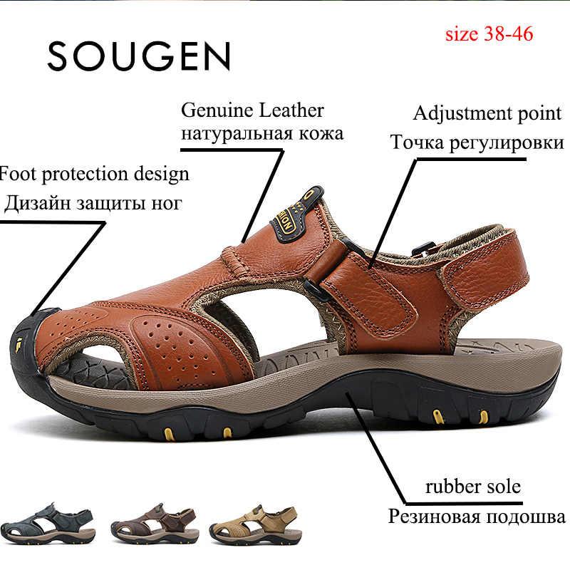 รองเท้าแตะชายหนังแท้ของแท้หนังชายรองเท้าผู้ใหญ่รองเท้าผ้าใบแพลตฟอร์มฤดูร้อน Krasovki ชาย 2019 ชายลื่นรองเท้า Chaussure Homme
