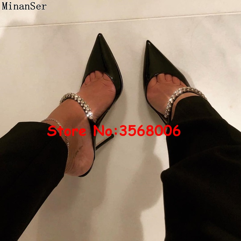 Pointed Toe Stiletto Women Slippers Patent Leather Rhinestone Crystal Dress High Heels Fashion Lady Evening Party