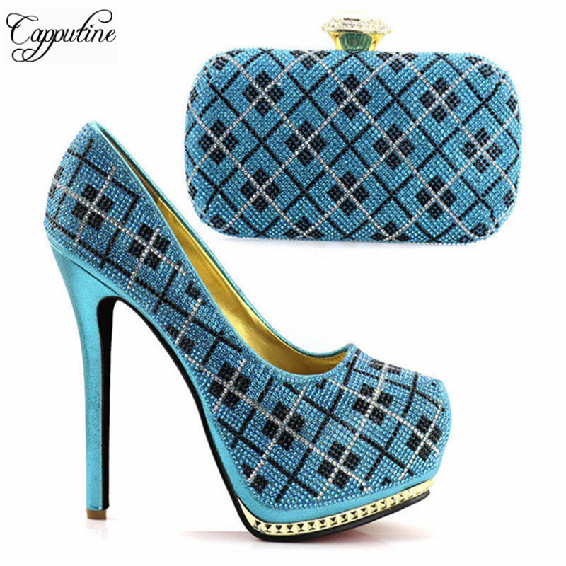 Capputine Sky Blue Color Italian Wedding Shoes And Bag Set High Quality African Super High Heels Shoes And Purse Set For Party capputine 2018 summer african rhinestone shoes and bag set italian ladies high heels shoes and bag set for party tx 1136