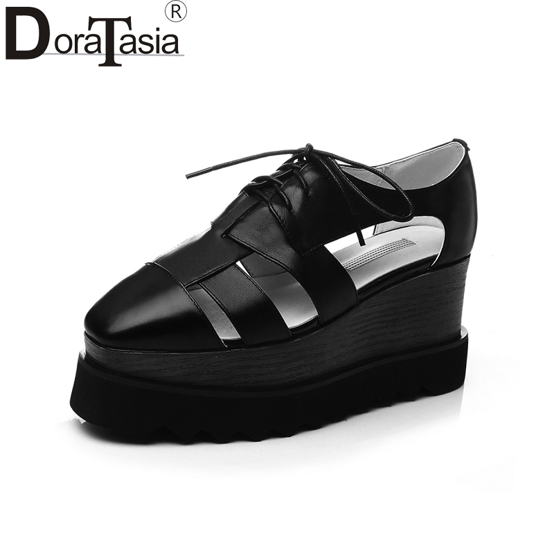 DoraTasia 2018 Fashion big size 33-42 real leather Shoes Woman gladiator platform sandals shoes wedges Casual Summer Women Shoes women sandals 2017 summer style shoes woman wedges height increasing fashion gladiator platform female ladies shoes casual
