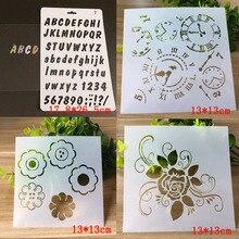 4pcs Bullet Journal Alphabet Numbers Templates Clock Stencil Painting Embossing Accessories Sjablonen For Scrapbooking