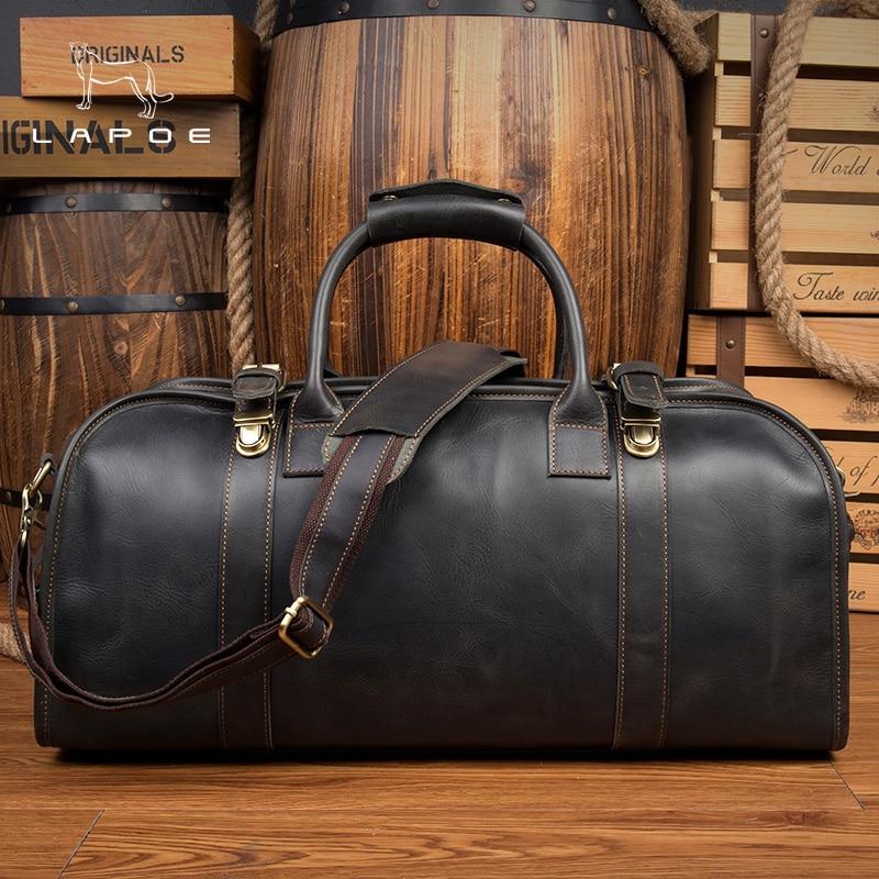 LAPOE cowhide genuine leather travel bag manFashion Casual Men Handbags Cowhide Men Crossbody Bag duffle bag man bolsa de viagem