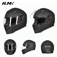 ILM DOT Full Face Motorcycle Helmet With Removable Winter Neck Scarf And 2 Visors Fashion Quick Release Helmet Matte Black S XL