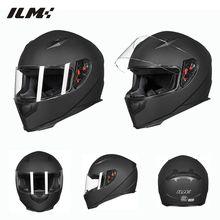New ILM DOT Full Face Motorcycle Helmet + 2 Visors + Neck Scarf  7 Color Fashion Quick Release Helmet Matte Black Red M L XL