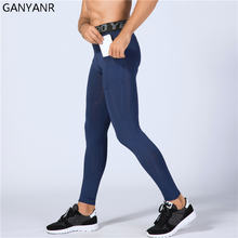 GANYANR Running Tights Men Yoga Basketball Sport Leggings Fitness Compression Pants Athletic Jogging Bodybuilding Training Gym
