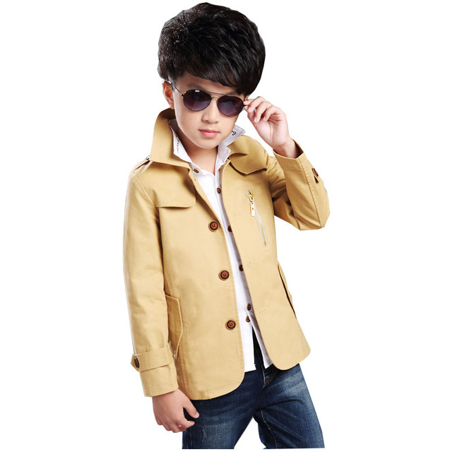 Kids Hot Sale New Arrival Solid Preppy Style Boys Broadcloth Cotton Turtleneck Spring 2016 Boy Zipper Windbreaker Baby Clothes