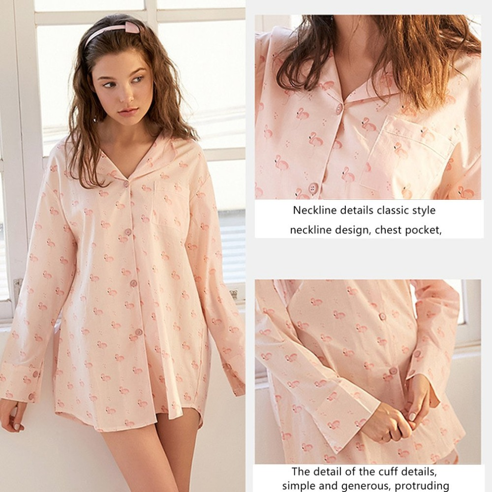 SWEETPINE women pyjamas 100% Cotton nightwear Spring summer blouse dress sleepwear Mujer Homewear clothing nightgrown C3