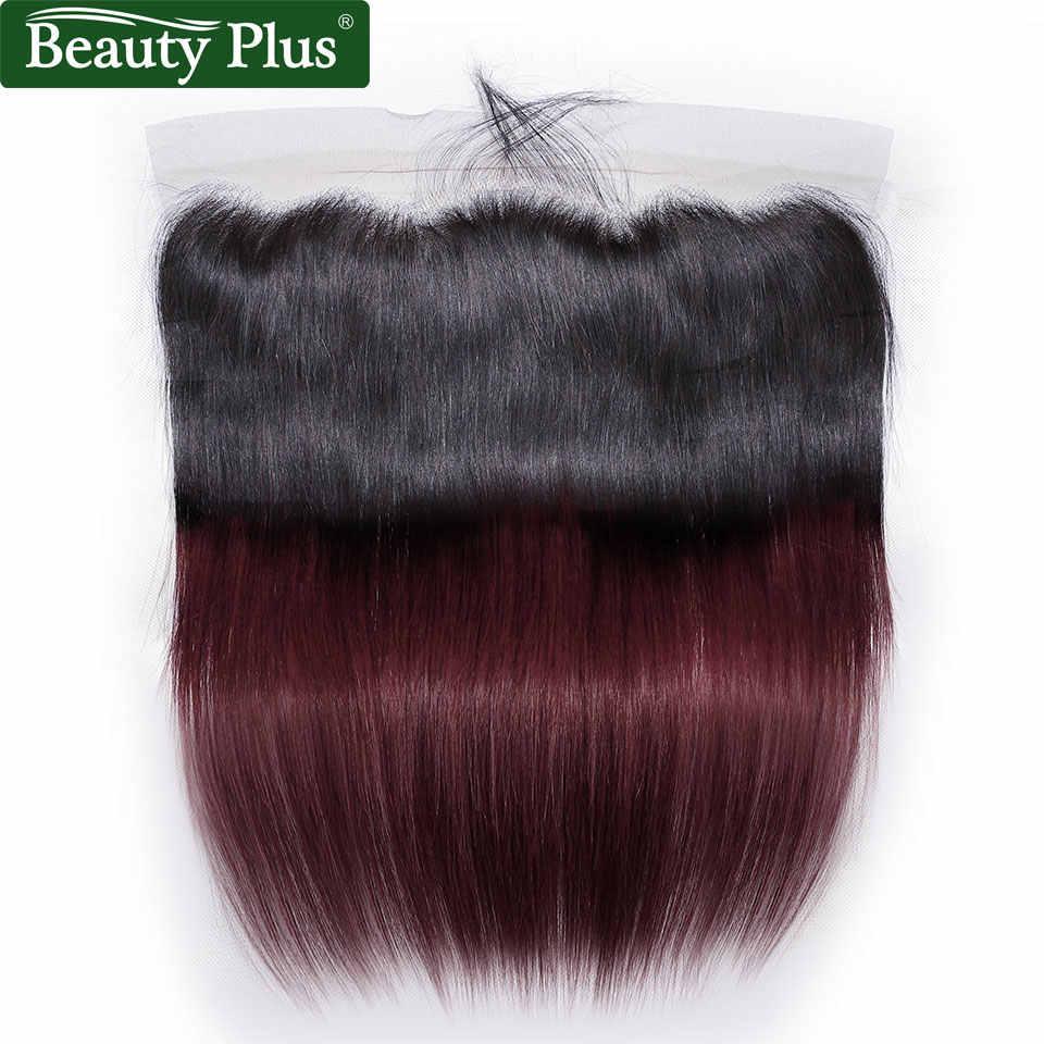 Темно-бордовый бразильские человеческие волосы плетение пучки с кружевными фронтами красота плюс Nonremy 1B 99J прямые человеческие волосы с фронтальной