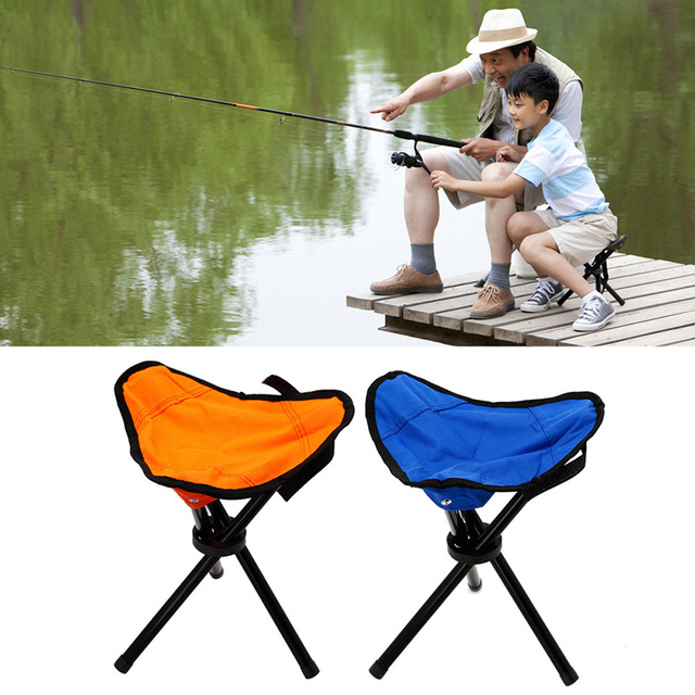 Folding Stool Fishing Hiking Portable Pocket Chair Tripod Seat 3 Legs Steel  Blue