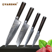 YARENH 4 pcs japanese damascus kitchen knife sets 8 professional chef knives cleaver santoku utility paring Slicing knife