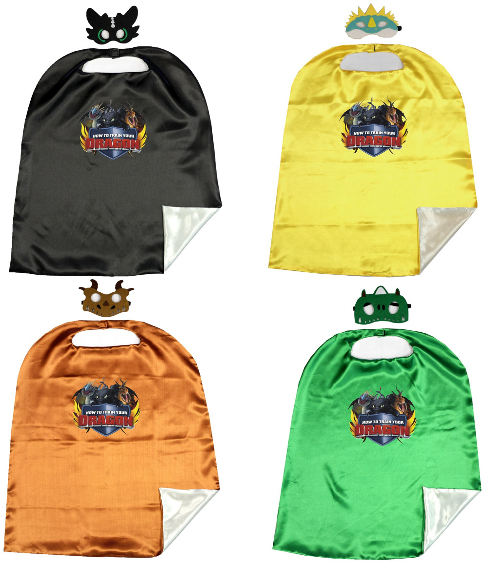 Train Dragon  Costume Capes With Masks  70*80CM 2layer  Birthday Party Cape  Favor  Night Fury Costumer Toothless