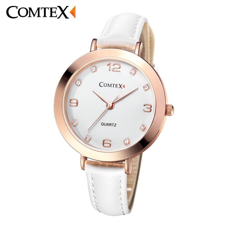 COMTEX Women Watch Ladies Watch Fashion Casual Clock Rose Gold Quartz Watches Top Brand Luxury Leather Clock Relogio Feminino