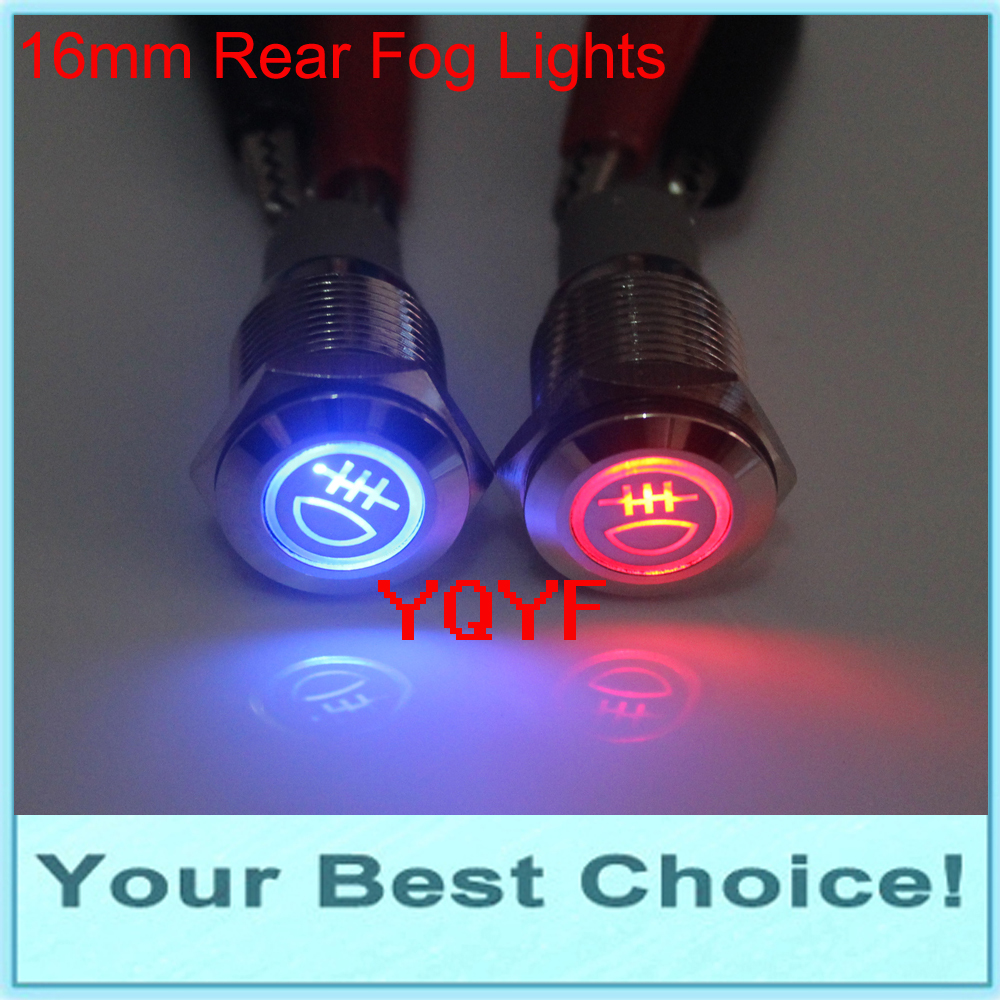 16mm 12v Led Rear Fog Light Symbol Push Button Switch In Switches