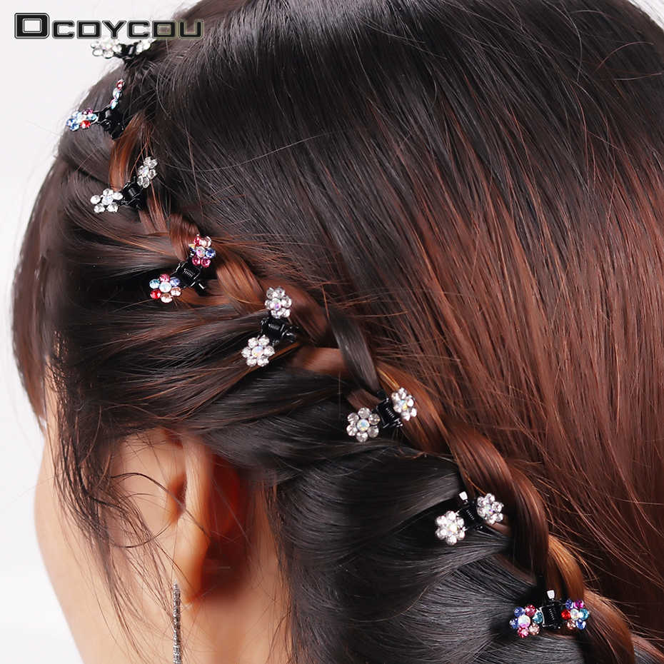 12PCS Fashion Women Hairpins Crystal Flower Mini Barrettes Gift for Kids Hair Claw Lovely Clip Girls Hair Accessories