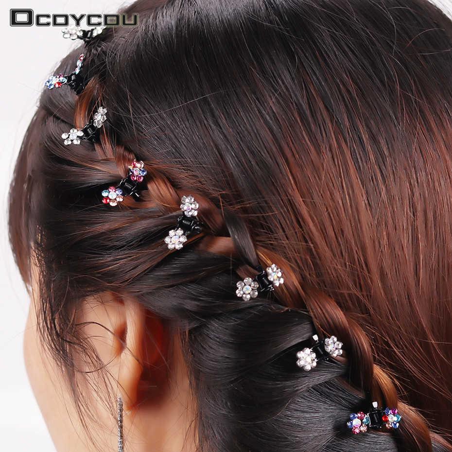 12 шт., модные женские шпильки, Хрустальный цветок, мини заколки, подарок для детей, заколка для волос, милые заколки, аксессуары для волос для девочек