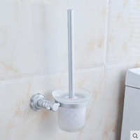 Space Aluminum Toilet Bowl Cleaning Appliance Wall Mounted Toilet Brush Holders Sliver Toilet Brush Holders Set