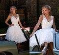 Praia romântico branco marfim apliques Vestido De casamento De praia Vestido De Novias Curto vestidos De noiva 2014 IS-20