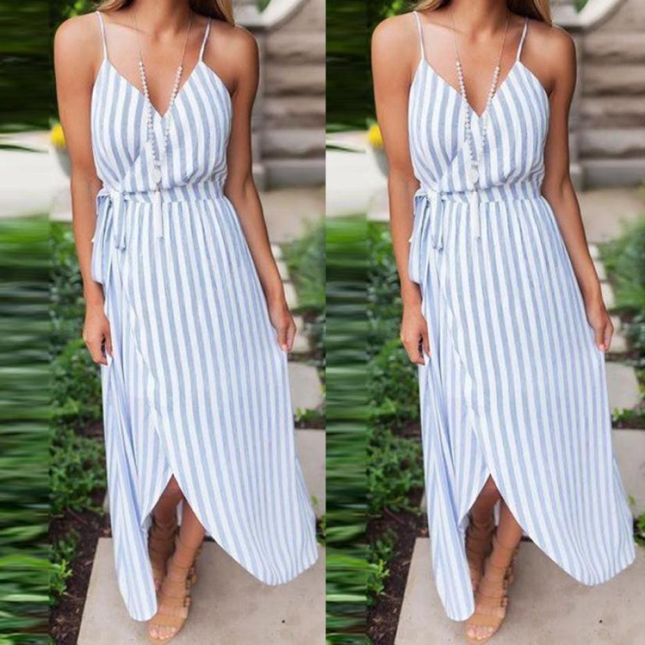 Feitong Lace Up Irregular Maxi Dress 2018 Women Sexy Striped Bandage Bodycon Spaghetti Strap Summer Beach Boho Long Dresses