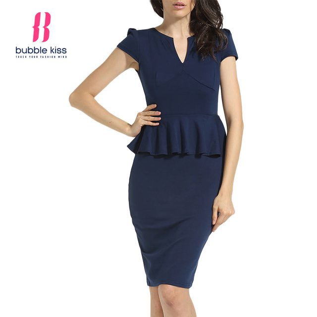 c9667d1b7ef57 Trabajo Vestido Mujer verano casquillo oficina formal sólido elegante  peplum breve estilo Vestido Mujer bubblekiss