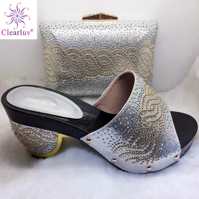 Clearluv Sliver Color Italian Shoes and Bag Set Decorated with Rhinestone  African Matching Shoes and Bags Italian In Women d2d4d4937c7d