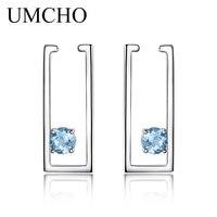 UMCHO 1.8ct Naturale Topazio Blu Orecchini di Clip Per Le Donne 100% Reale 925 Orecchini In Argento Femminile Gioielli 2018 Nuovo