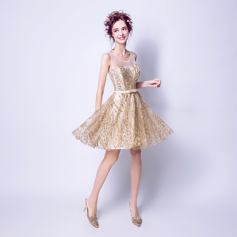 new styles df7e4 43341 US $55.4 9% di SCONTO|AXJFU Splendido piccolo oro vestito dorato stella  abito da sera corto vestito da pranzo del vestito da sera Della Principessa  ...