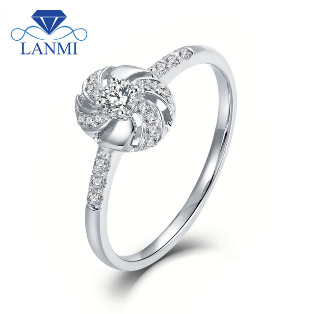 LANMI Fine Jewelry Au750 White Gold Shinning Diamond Wedding Promised Ring for Women Anniversary