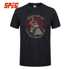 Causual T Shirts Men Wotan Mit Uns Viking North Style Male Tshirt Short Sleeve Tee O Neck Team Clothes Vintage Printed XXXL Male