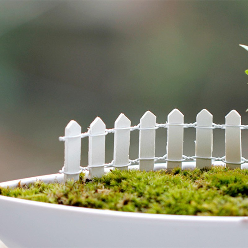 20pcs Mini Small Fence Barrier Wooden Craft Miniature Fairy Garden Fence  Terrarium Branch Palings Showcase Decor 10 Colors