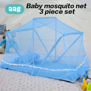 AAG Portable Baby Bedding Crib Netting Child Mosquito Net Foldable Infant Bed Cushion Mattress Pillow 3PCS Suit Insect Net 30
