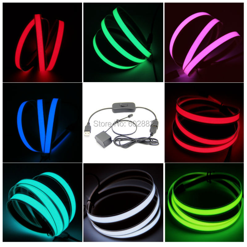 led strip,1 Meter EL Strip, EL tape (7 colors available) + 5v USB Inverter with USB Swit ...