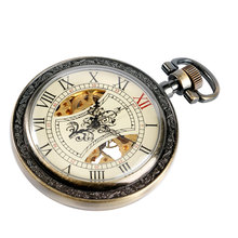 Women Men Pocket Watch Fob Mechanical Vintage Tree Pattern Chain Hand Winding Exquisite Skeleton Roman Numbers Wind Up Xmas Gift