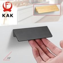 KAK Черный Серебряный Золотой скрытые ручки шкафа алюминиевый сплав кухонный шкаф ручки для выдвижных ящиков дверное оборудование для обработки мебели