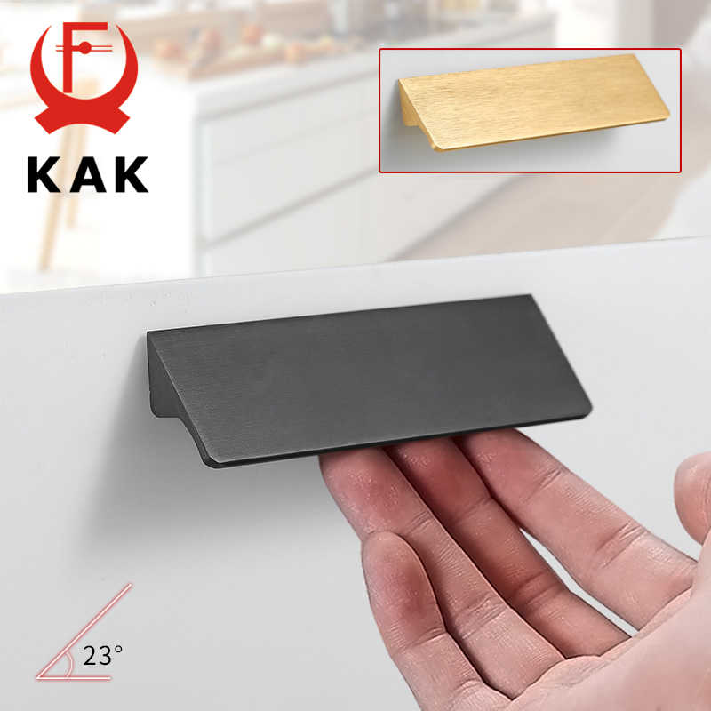KAK Black Silver Gold Hidden Cabinet Handles Aluminum Alloy Kitchen Cupboard Pulls Drawer Knobs Door Furniture Handle Hardware