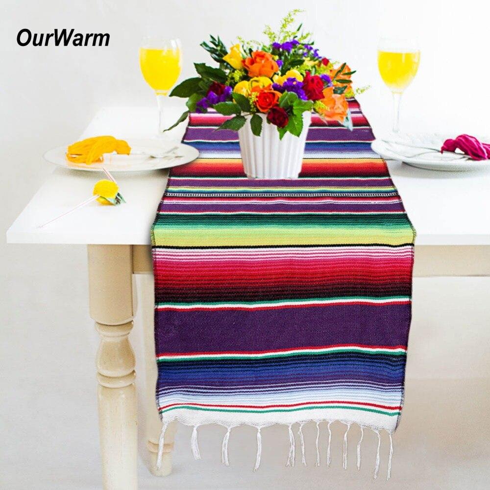 OurWarm Décoration De Mariage Chemins De Table en Coton Arc-En-Fête D'anniversaire Fournitures Partie Mexicaine Serape Table Coureur 213X35 cm