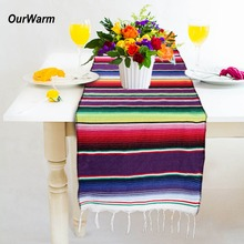 Buy wedding decorations and get free shipping on aliexpress ourwarm wedding decoration cotton table runners rainbow birthday party supplies mexican party serape table runner 213x35cm junglespirit Image collections
