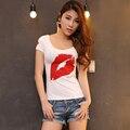 2016 Verano Sexy de manga Corta de Las Mujeres Camisetas de Moda de Big Lip Impreso Delgado Tops Casual Ropa de Mujer Libre gratis SY123