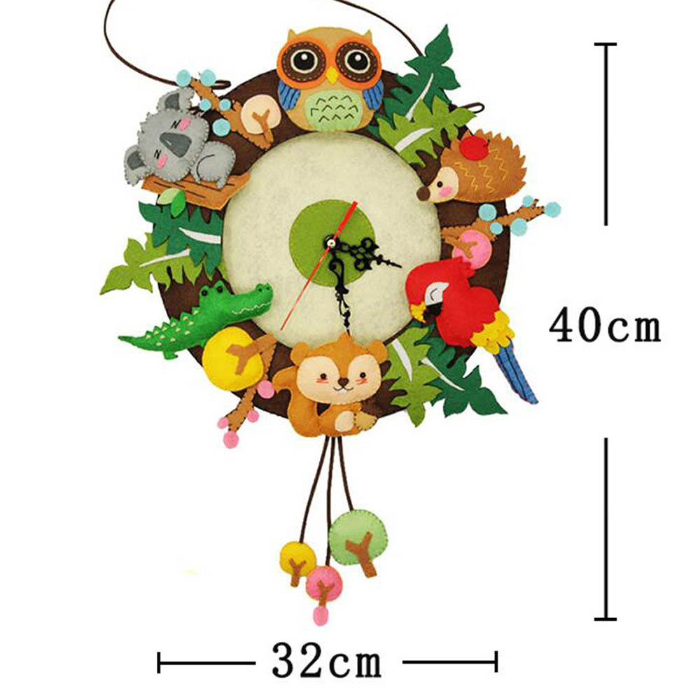 Cute Animal Style DIY Wall Clock Set Craft Toys Free Cutting Felt Material Cloth Handmade Cloth Clock Home Hanging Decoration