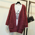 2015 Autumn and Winter Women Cardigan Sweater Jacket Casual Loose Mohair Long Knitted Sweater Fashion Korean Women Outerwear