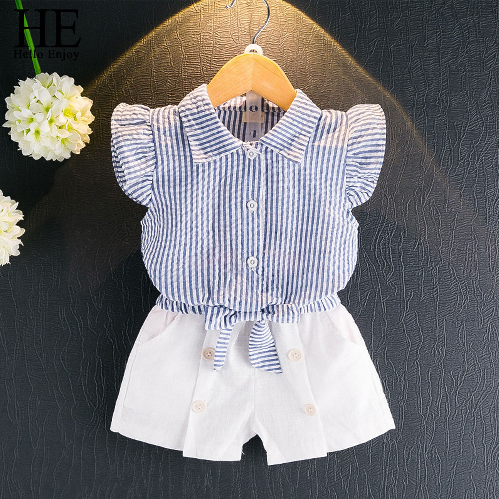 HE Hello Enjoy Girls Clothes Kids Summer Casual Girls Sets Sleeveless Stripe Bowknot Shirt +Shorts Suits Children Clothing 2018 2017 summer girls sets clothes short sleeve chiffon baby girls sets for kids big girls t shirts and stripe shorts children suits