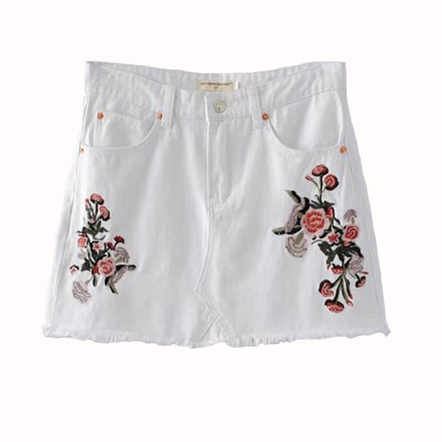 2017, the new lady embroidered flowers, fashionable denim skirt ...