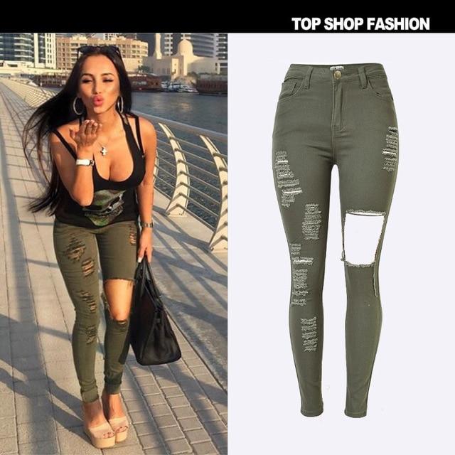 Nova 2016 de Cintura Alta calças de Brim Das Senhoras Calças de Ganga de Algodão Stretch mulheres Rasgado Jeans Skinny Jeans Denim Jeans Para As Mulheres do exército verde