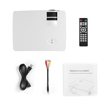 White LCD Mini Projector 1500 LM 1080P Full HD 800 * 480 Video Home Cinema IR Remote Control Wired The Same Screen Japanese